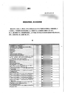 SSミガキの「環境負荷物質 非含有証明書」です。